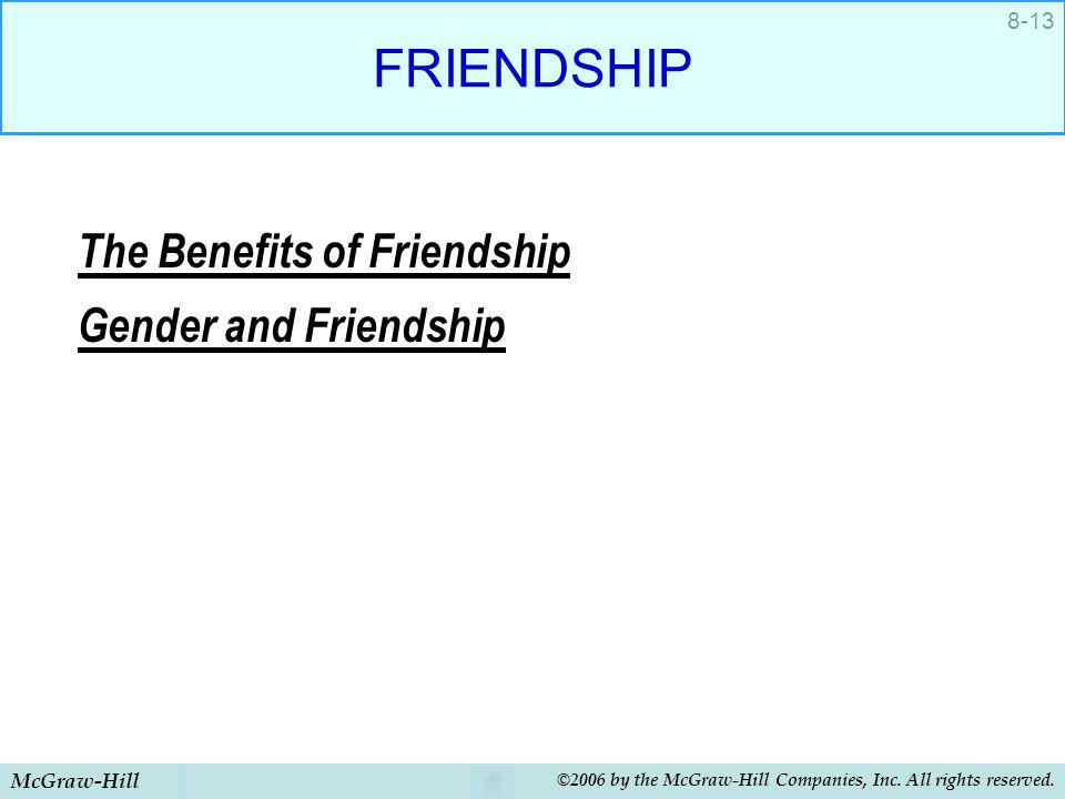 FRIENDSHIP The Benefits of Friendship Gender and Friendship
