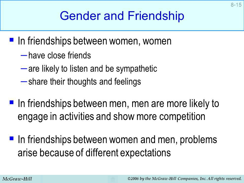 Gender and Friendship In friendships between women, women