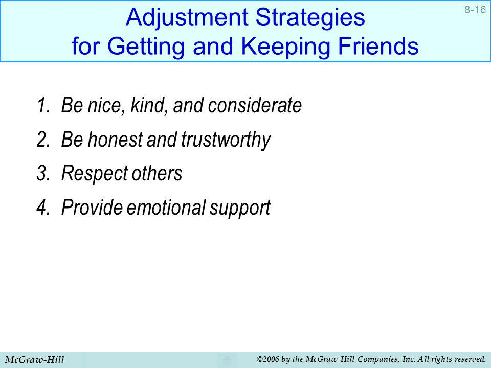 Adjustment Strategies for Getting and Keeping Friends
