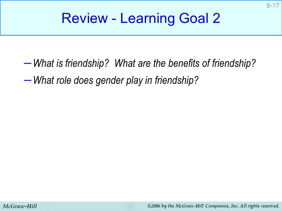 Review - Learning Goal 2 What is friendship What are the benefits of friendship What role does gender play in friendship