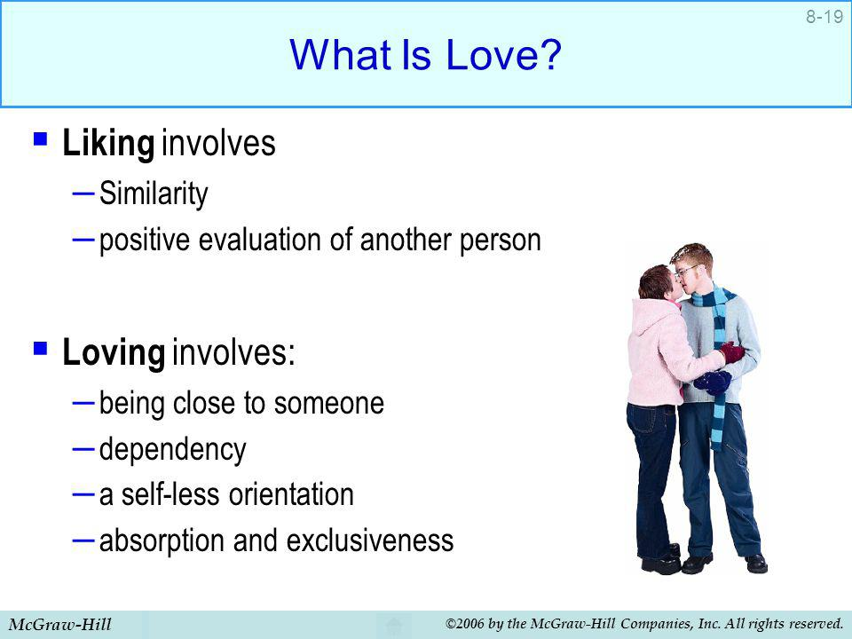 What Is Love Liking involves Loving involves: Similarity
