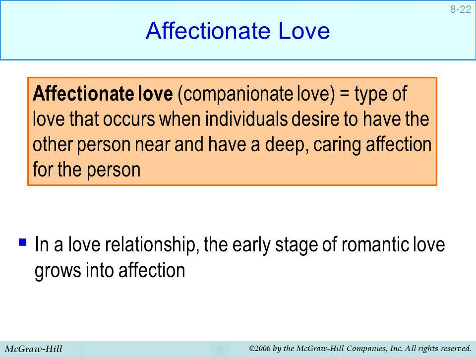 Affectionate Love In a love relationship, the early stage of romantic love grows into affection.