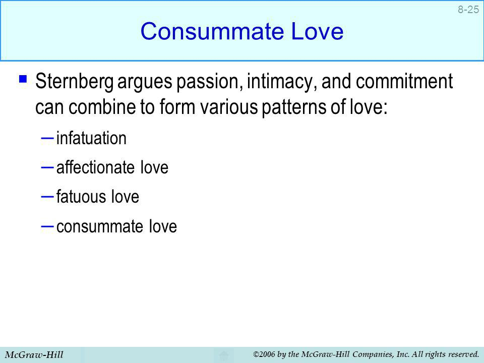 Consummate Love Sternberg argues passion, intimacy, and commitment can combine to form various patterns of love: