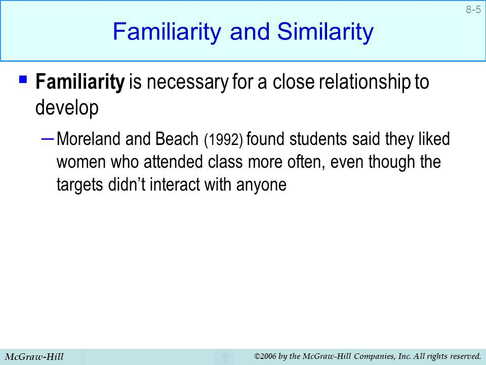 Familiarity and Similarity