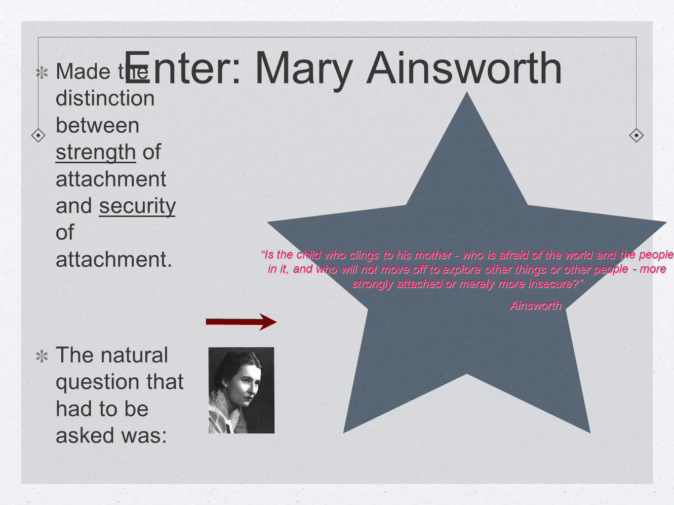 Enter: Mary Ainsworth