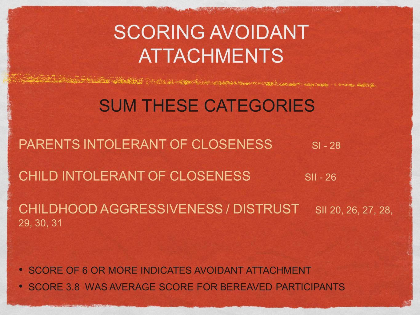 SCORING AVOIDANT ATTACHMENTS
