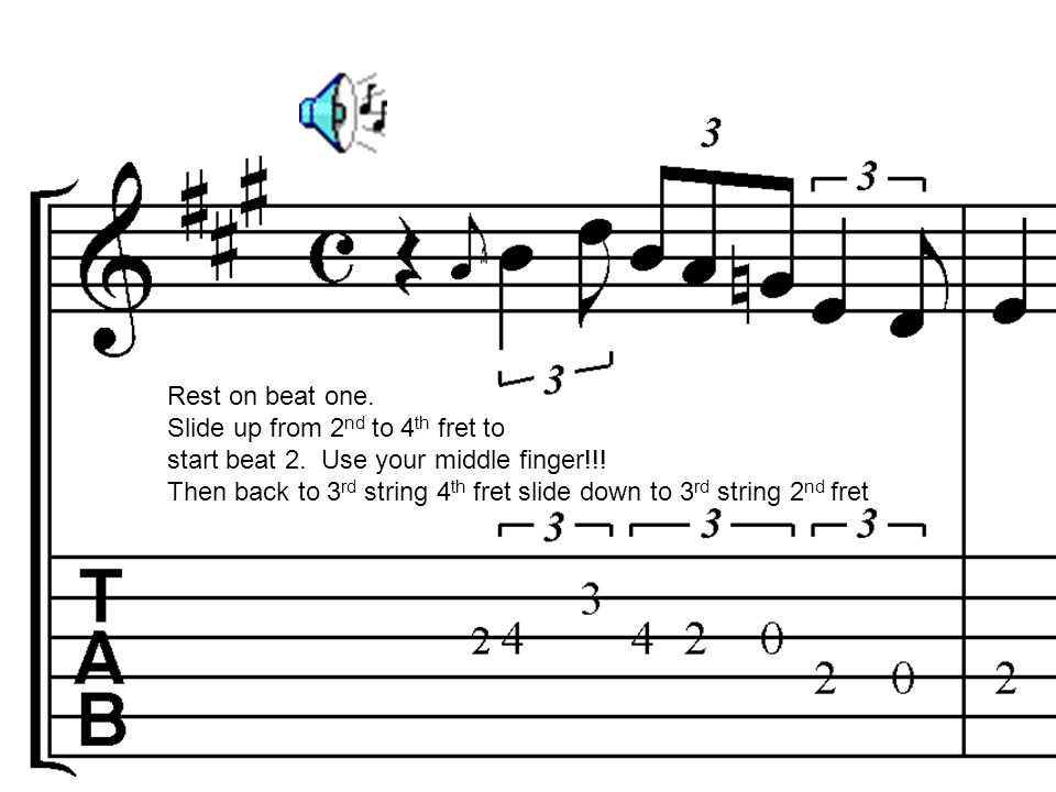 Rest on beat one. Slide up from 2nd to 4th fret to. start beat 2. Use your middle finger!!!