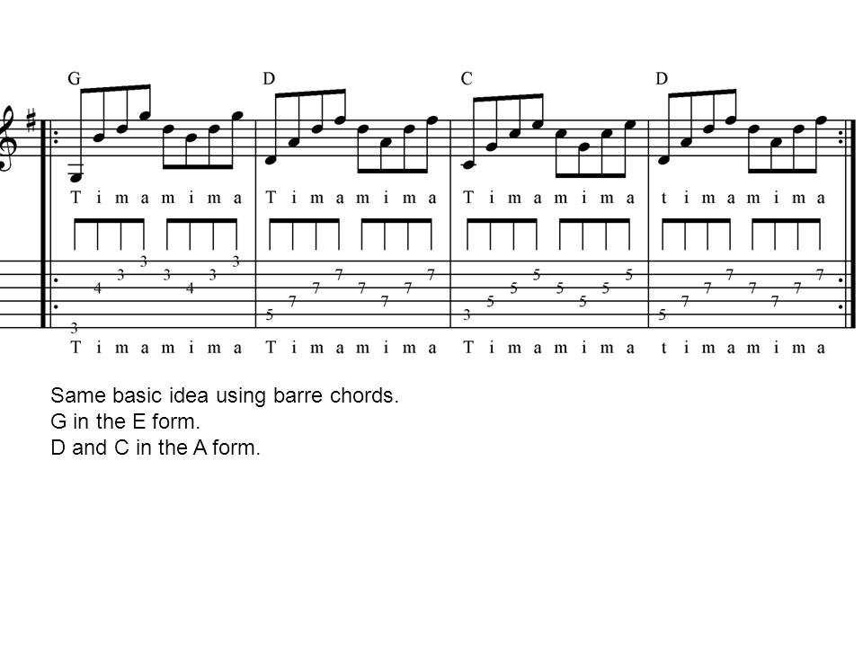 Same basic idea using barre chords.