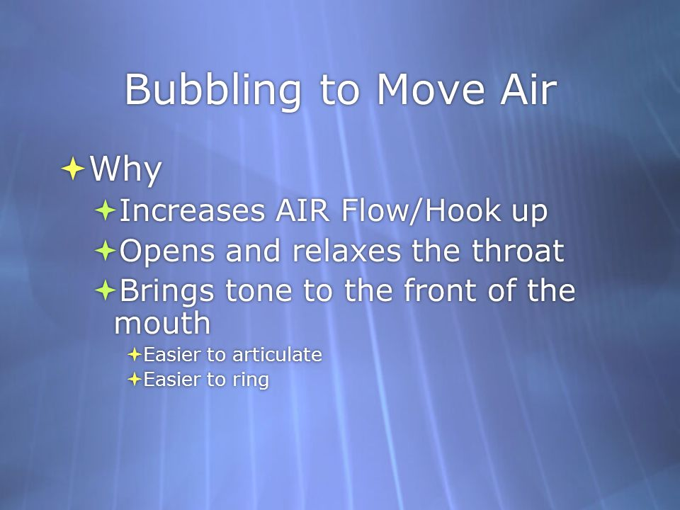 Bubbling to Move Air Why Increases AIR Flow/Hook up