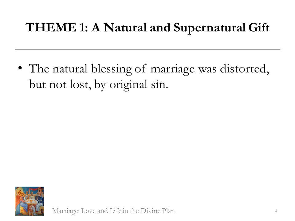 THEME 1: A Natural and Supernatural Gift