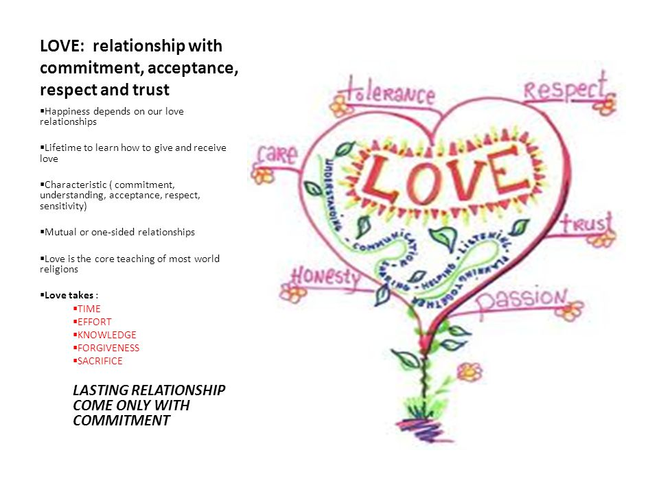 LOVE: relationship with commitment, acceptance, respect and trust