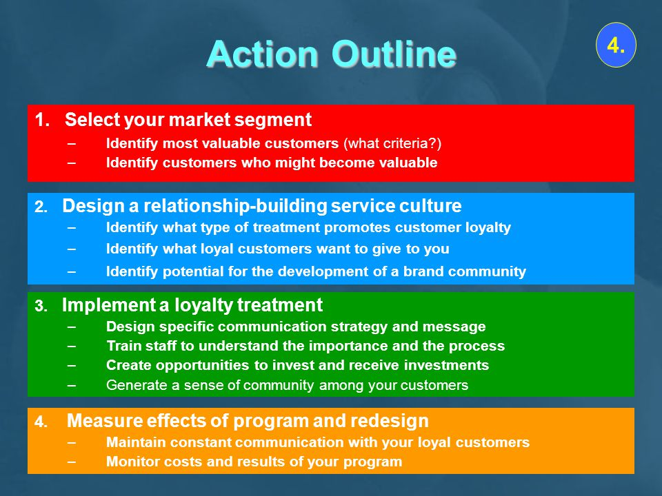 Action Outline 4. 1. Select your market segment