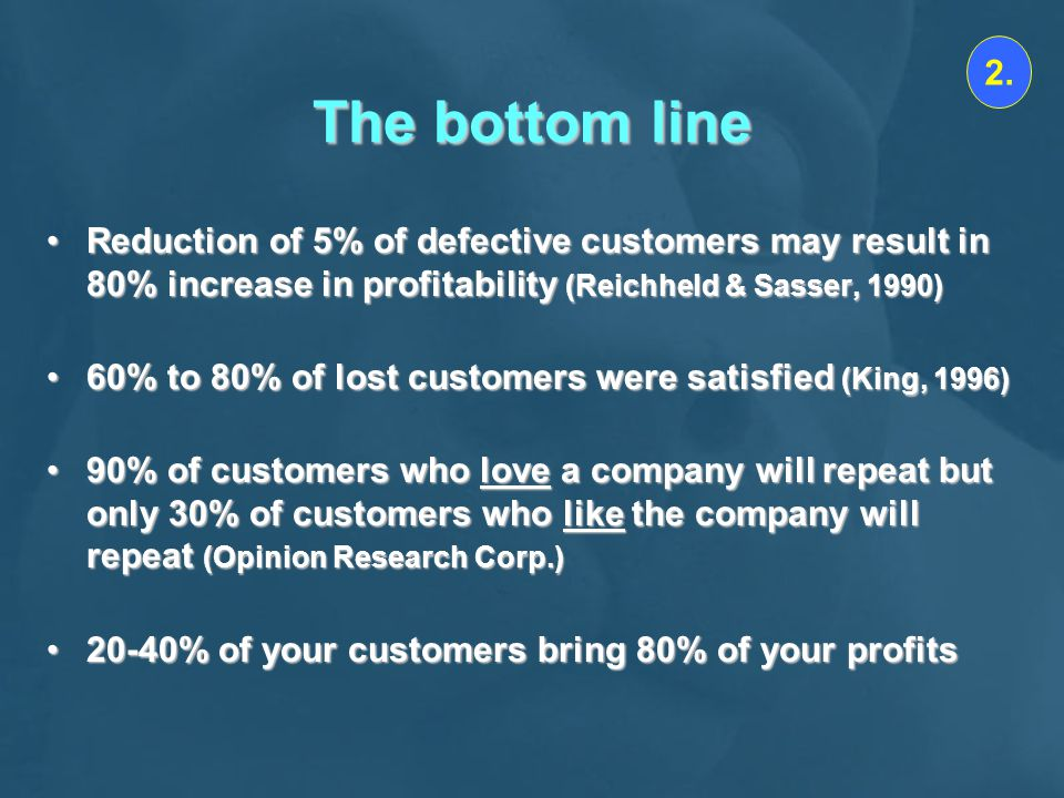 2. The bottom line. Reduction of 5% of defective customers may result in 80% increase in profitability (Reichheld & Sasser, 1990)
