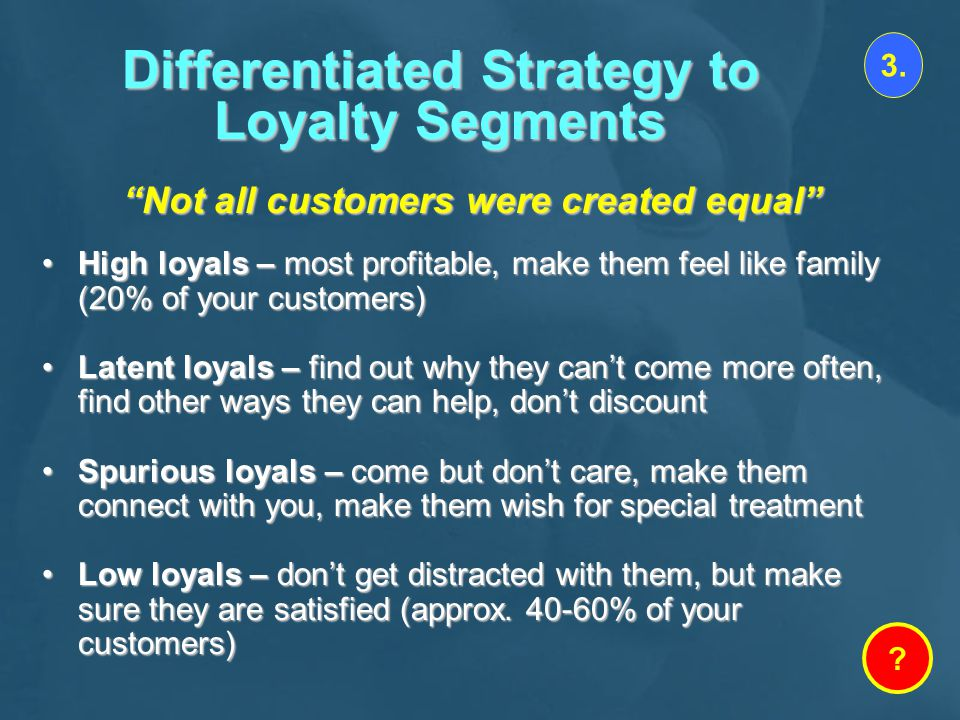 Differentiated Strategy to Loyalty Segments