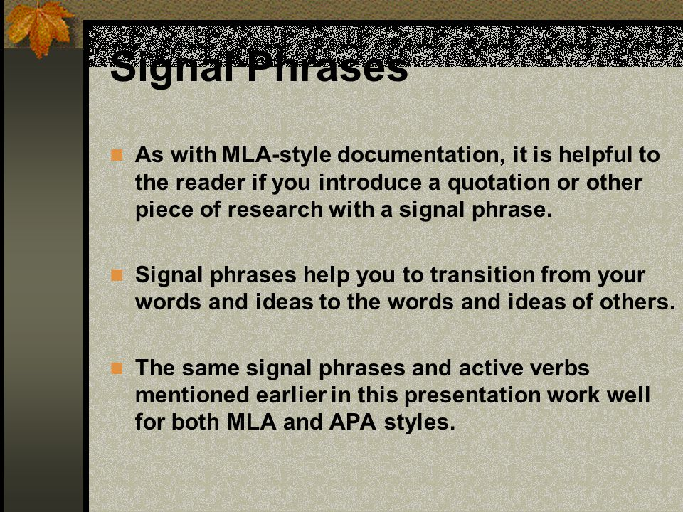 signal phrase research paper