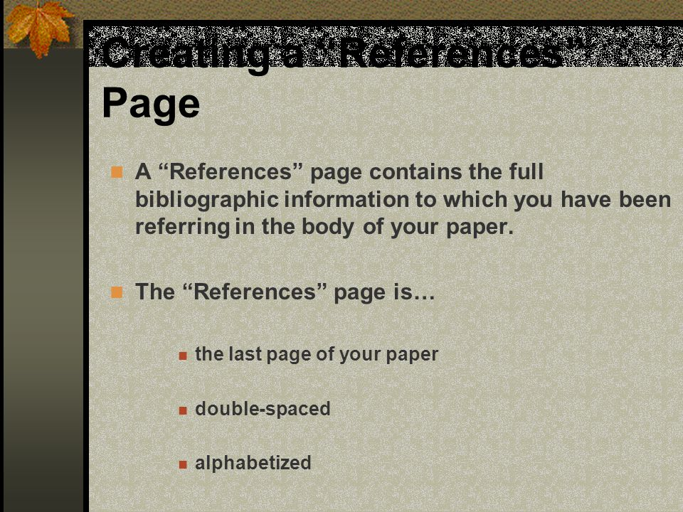 Creating a References Page