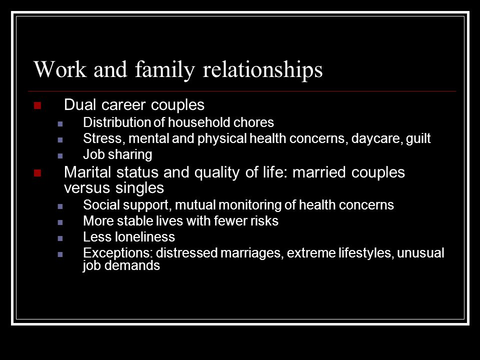 Work and family relationships