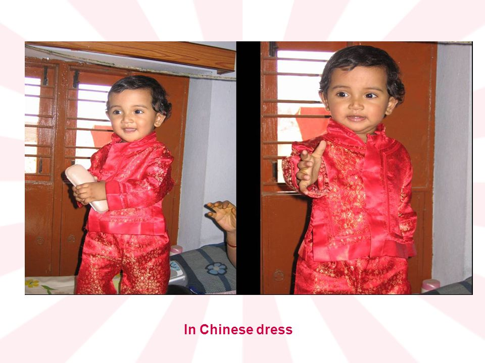 In Chinese dress