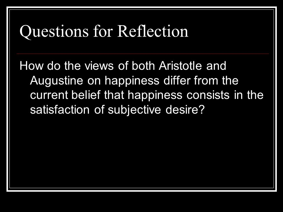 Questions for Reflection