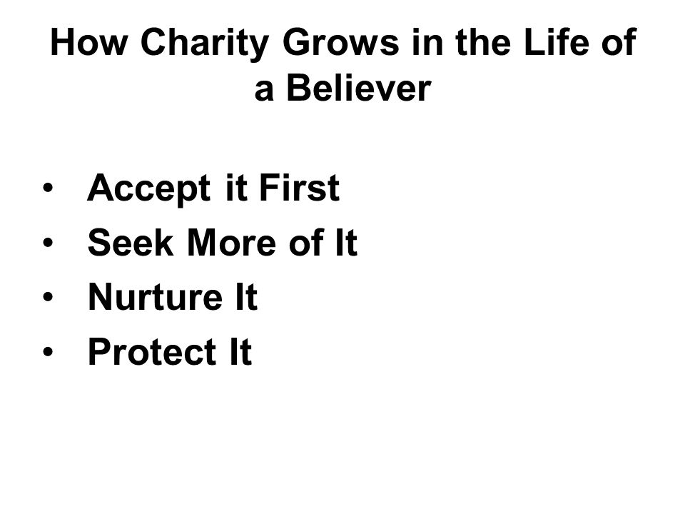 How Charity Grows in the Life of a Believer
