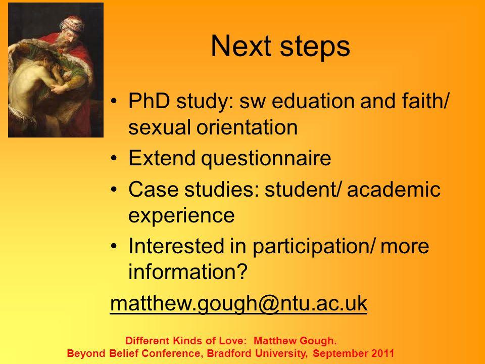 Next steps PhD study: sw eduation and faith/ sexual orientation
