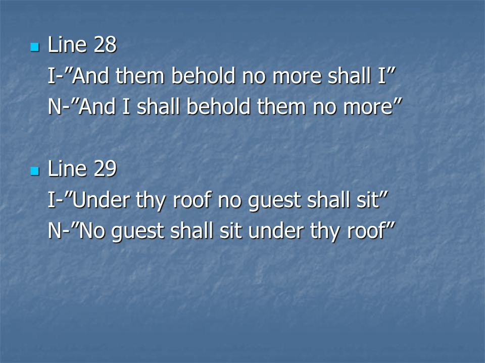 Line 28 I- And them behold no more shall I N- And I shall behold them no more Line 29. I- Under thy roof no guest shall sit