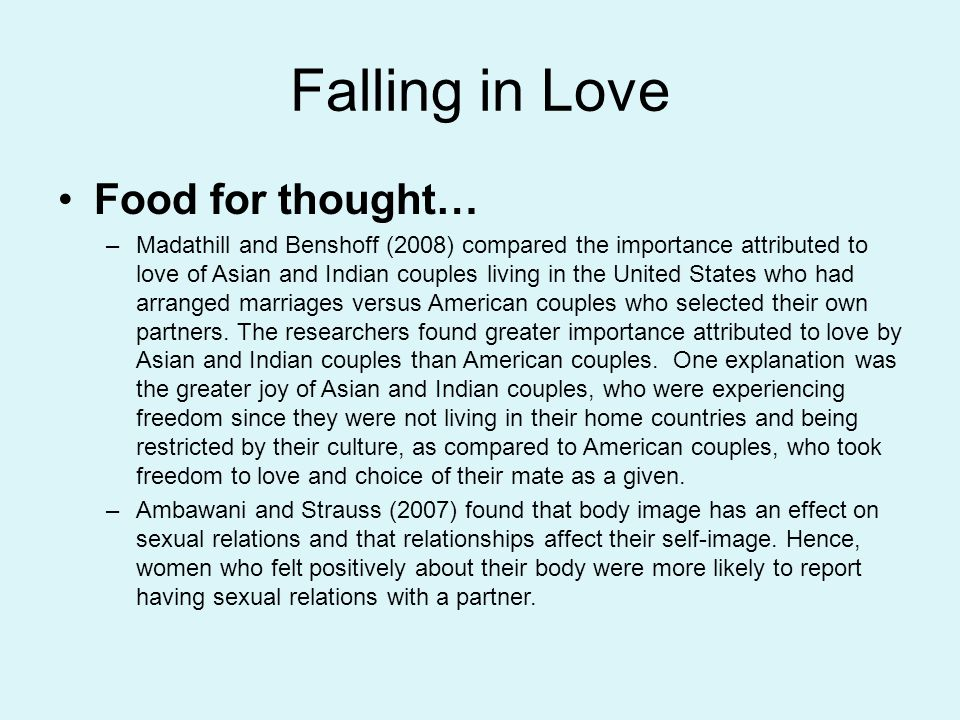 Falling in Love Food for thought…