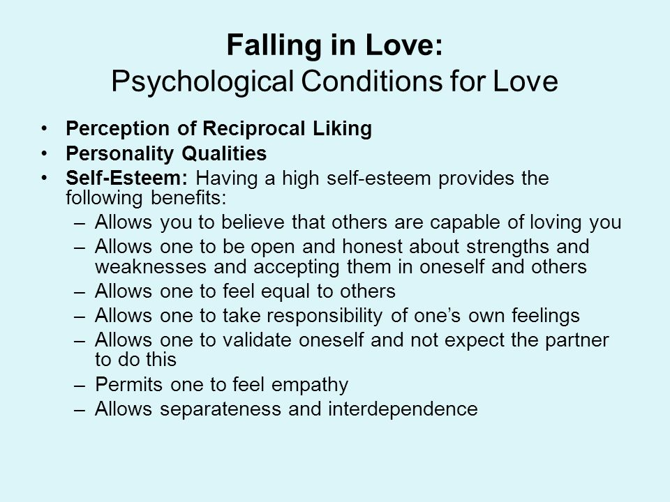 Falling in Love: Psychological Conditions for Love