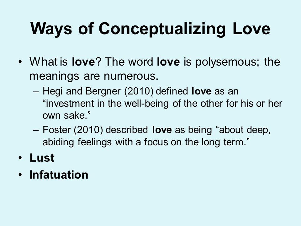Ways of Conceptualizing Love