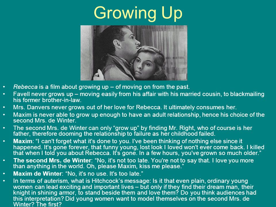 Growing Up Rebecca is a film about growing up – of moving on from the past.