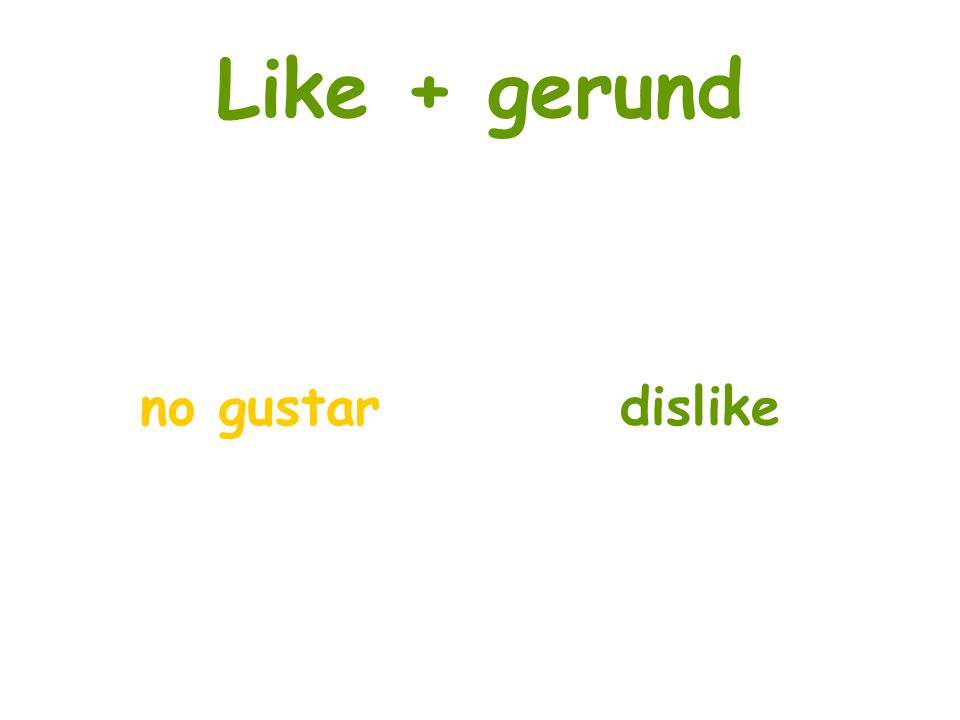 Like + gerund no gustar dislike