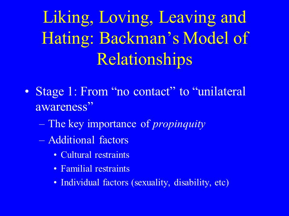 Liking, Loving, Leaving and Hating: Backman's Model of Relationships