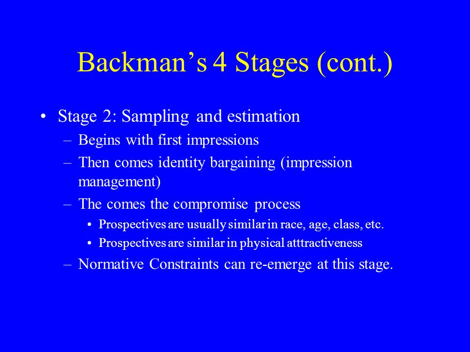 Backman's 4 Stages (cont.)