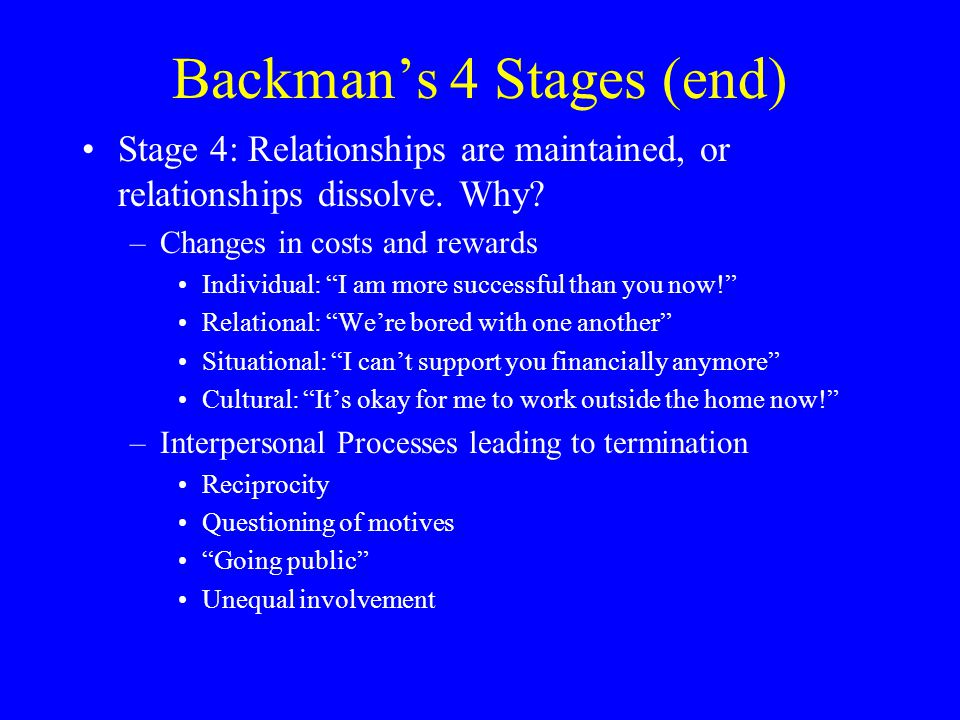 Backman's 4 Stages (end)