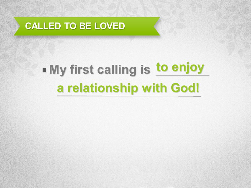 a relationship with God!