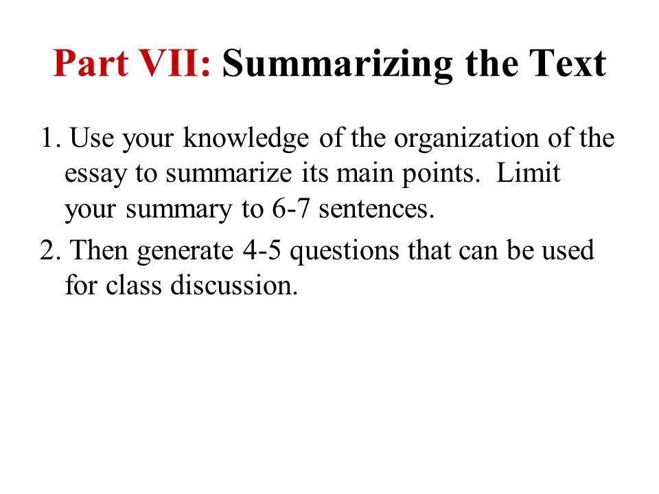 Part VII: Summarizing the Text