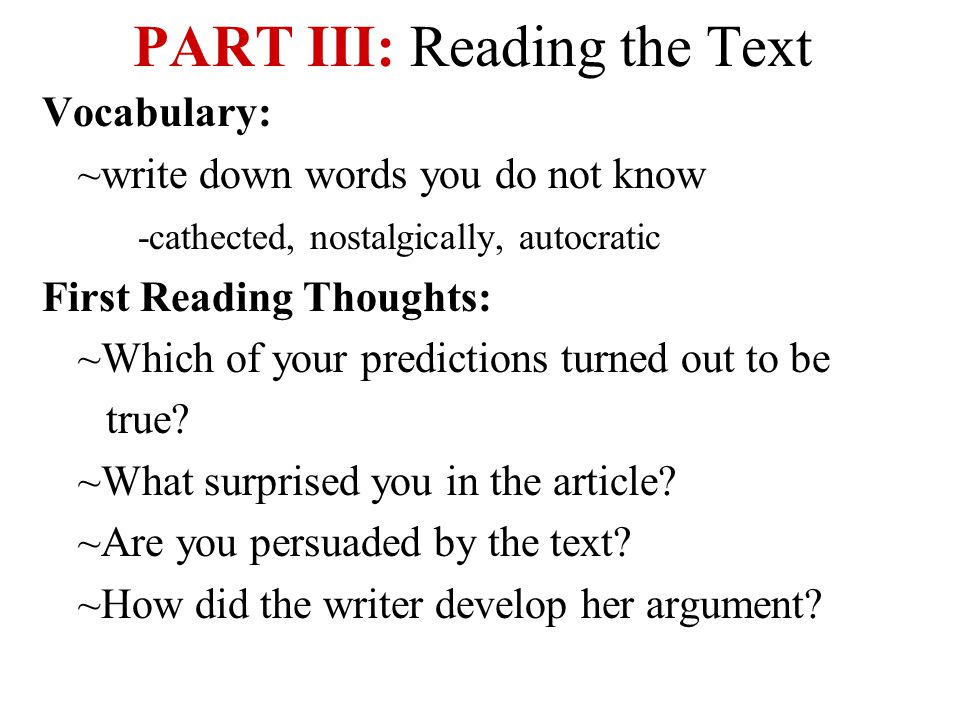 PART III: Reading the Text