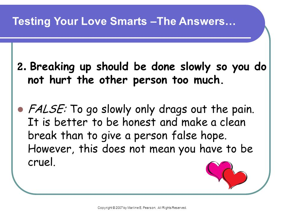 Testing Your Love Smarts –The Answers…