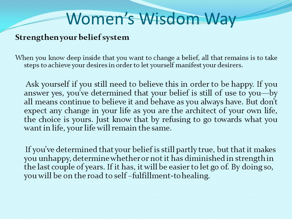Women's Wisdom Way Strengthen your belief system