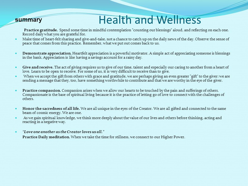Health and Wellness summary