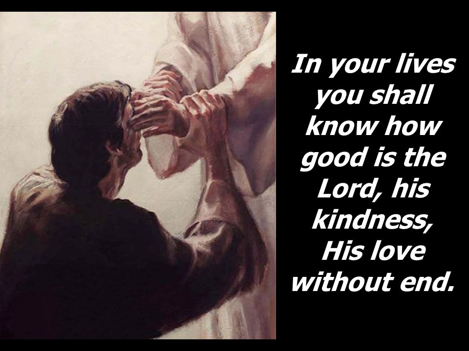In your lives you shall know how good is the Lord, his kindness, His love without end.