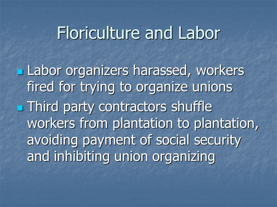 Floriculture and Labor