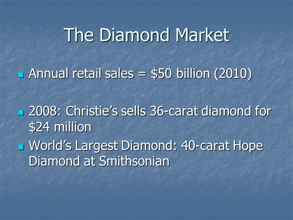 The Diamond Market Annual retail sales = $50 billion (2010)