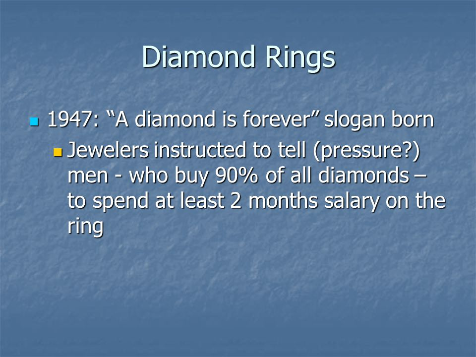 Diamond Rings 1947: A diamond is forever slogan born