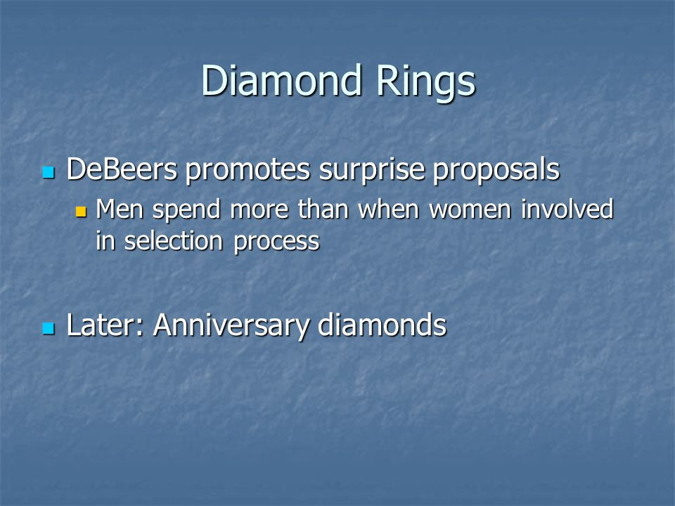 Diamond Rings DeBeers promotes surprise proposals