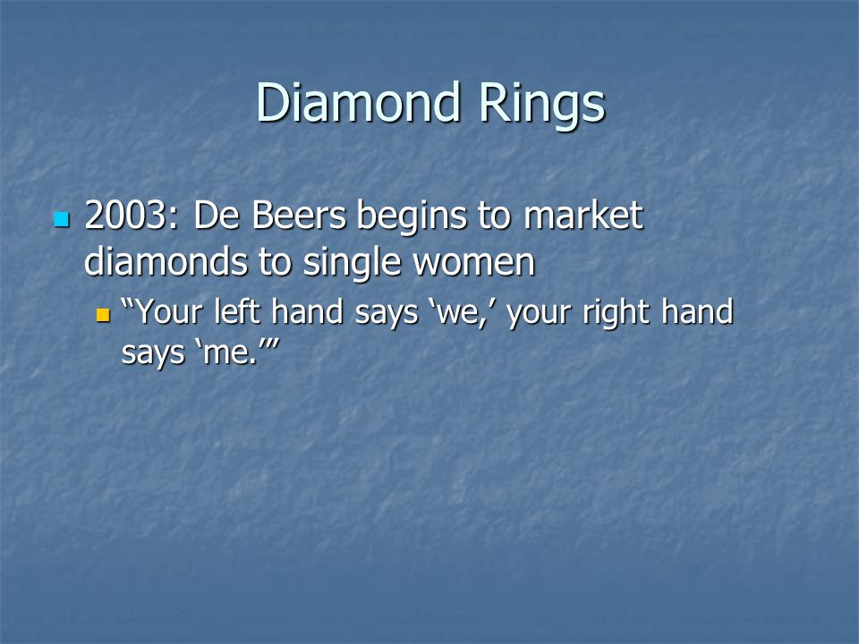 Diamond Rings 2003: De Beers begins to market diamonds to single women