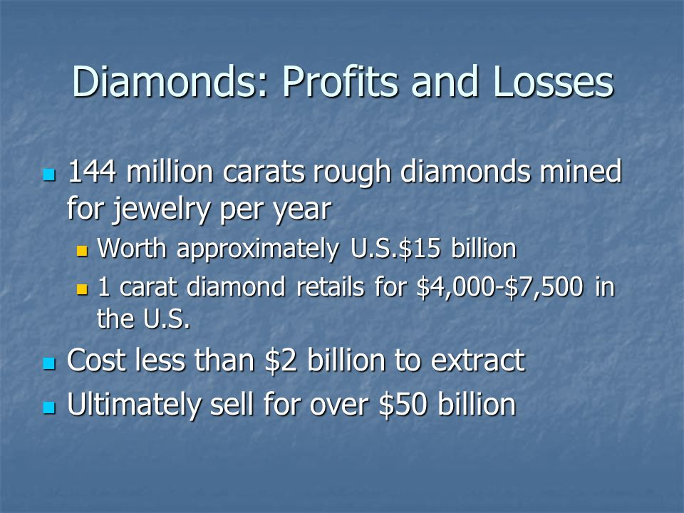 Diamonds: Profits and Losses