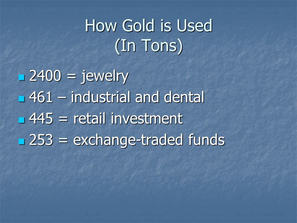 How Gold is Used (In Tons)