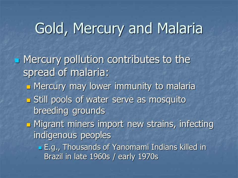 Gold, Mercury and Malaria