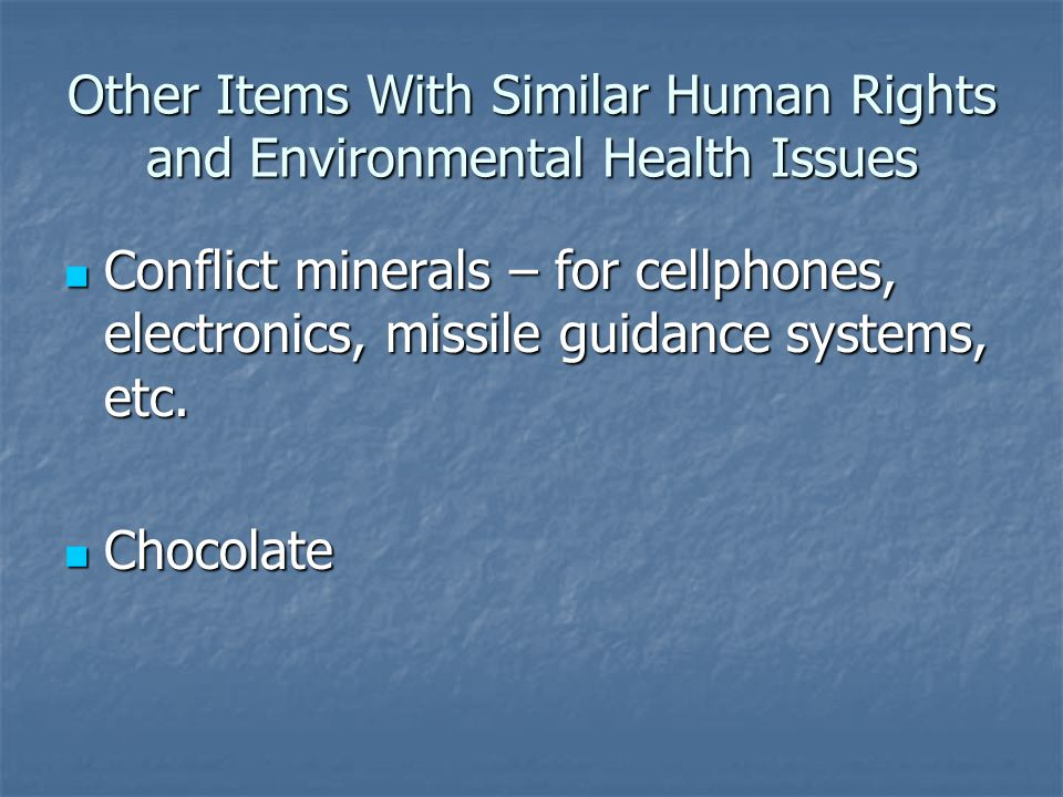 Other Items With Similar Human Rights and Environmental Health Issues